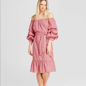 Who What Wear Gingham Off Shoulder  Dress XS